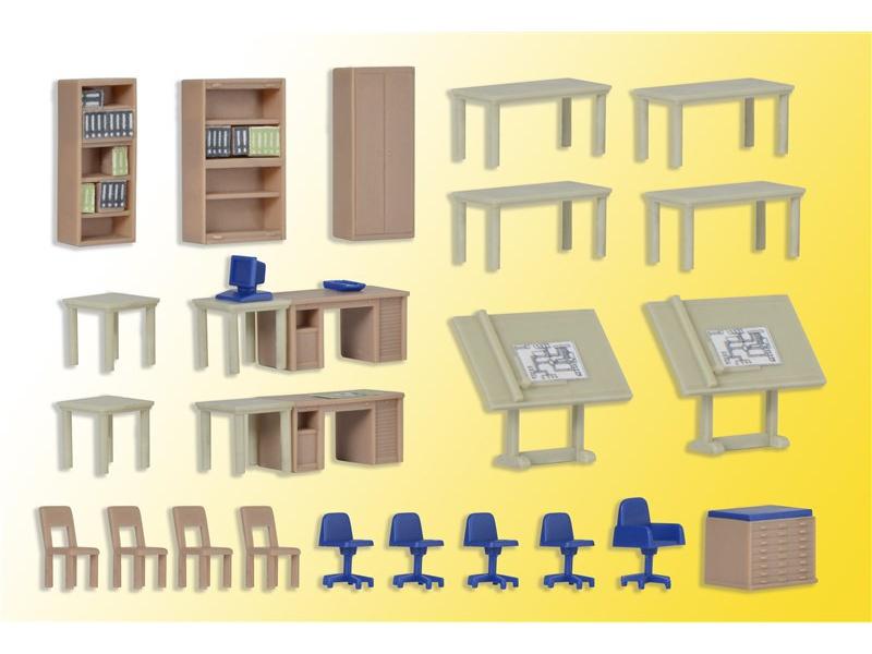 deko set m bel f r technisches b ro spur h0 kibri 38655. Black Bedroom Furniture Sets. Home Design Ideas
